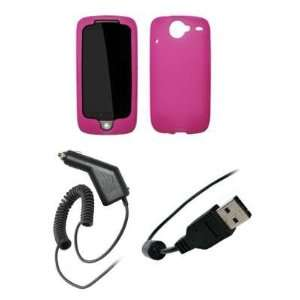 Premium Hot Pink Soft Silicone Gel Skin Cover Case + Rapid Car Charger