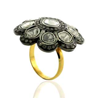 VINTAGE RING .925 SOLID STERLING SILVER 18KT GOLD ROSE CUT DIAMOND