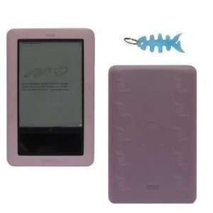 Pink Silicone Skin Case Cover with Light Blue Fishbone