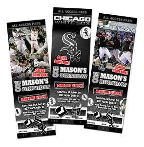 CHICAGO WHITE SOX BIRTHDAY PARTY INVITATION TICKET CUSTOM INVITE CARD