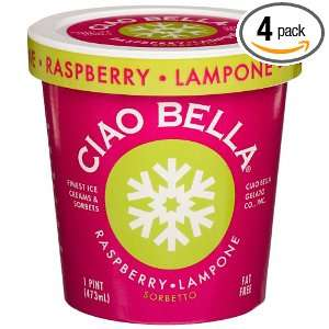 Ciao Bella Raspberry Sorbetto, 16 Ounce Cups (Pack of 4)
