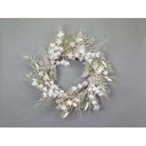 Snow Drift White/Green Snowflake/Pine/Cone Christmas Wreaths   Unlit