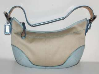COACH~AUTHENTIC~CANVAS~LIGHT BLUE TWILL HOBO SHOULDER BAG + DUST BAG