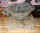 Pressed Glass Punch Bowl EAPG Pedestal Indiana Paneled Daisy Antique
