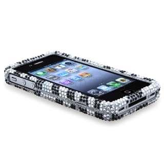 Black Zebra Bling Diamond Case Skin Cover+Screen Shield For iPhone 4 s