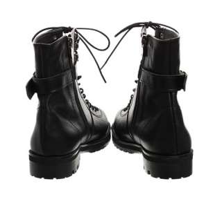 Womens shoes Leather Lace Up buckle Ankle Combat Boots