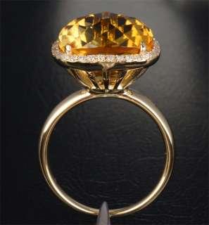 10.86CT CITRINE & DIAMOND   14K YELLOW GOLD Engagement Wedding RING