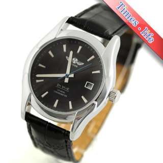 Automatic Black Face Watch Calendar/Date Classic Army Leather Gift