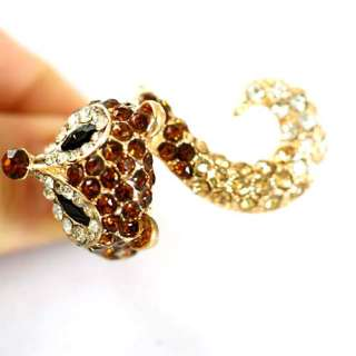 r6186  Brown Cute Fox Tail Gold plating Diamante