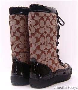 New NIB Coach Peggey Signature Khaki Brown Winter Snow Boots 8