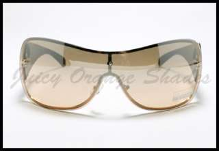TATTOO Fleur De Lis Design SHIELD Fashion Sunglasses GOLD DARK BROWN