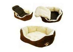 W01 ON SALE Coffee Comfortable Soft Fleece Pet Dog Cat Bed House with