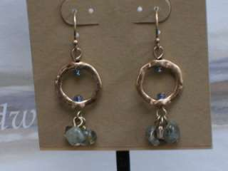 COLDWATER CREEK HAMMERED RING AND STONE PIERCED EARRINGS, NWT