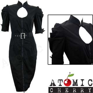 Tear Drop Cut Out Pencil Dress Rockabilly Pin Up Gothic Retro