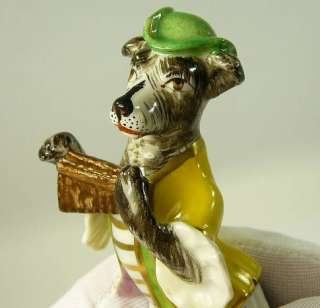 Vintage French Porcelain Dog Band Figurines Antique France Crossed