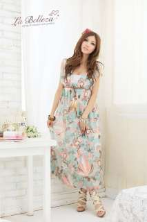 Floral Stretch Women Sexy Beach Cocktail Boho Belted Long Party Maxi