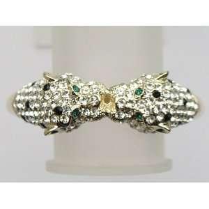 Golden Toned Blk Emerald Clear Crystal Rhinestone Twin Lion