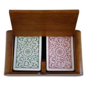 New High Quality Wooden Box 2 Decks Of Copag 1546 Green
