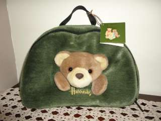 Harrods Knightsbridge Dungaree Bear Stuffed Plush Purse / Carrying