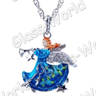 6strands Music Angel Rhinestone&Enamel&Alloy Pendant Necklaces TY0447