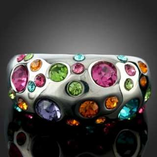 Colorful Swarovski Crystals Gold GP ARINNA Fashion Ring
