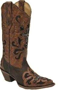Corral Womens Leather Cowboy Western Boots Brown Python Crystal Cross