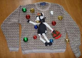 Ugly CHRISTMAS Sweater Contest Size XL Large Santa HO HO Cow