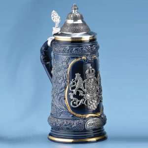 Ceramic Blue Bavarian/German Beer Stein/Mug with Pewter Lid and Emblem