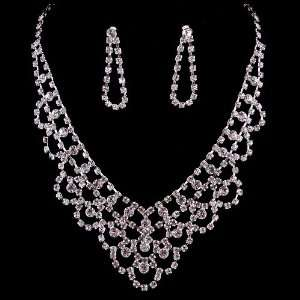 Bridal Wedding Jewelry Set Necklace Austrian Crystal Rhinestone V