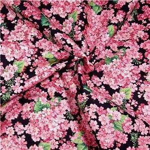 Cranston Cotton Fabric, Bright Pink Cherry Blossom Flowers on Black