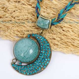 Moon Shape Blue Acrylic Stone Crystal Pendant Chain Necklace
