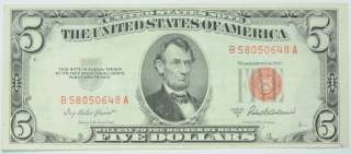 1963 US $5 LEGAL TENDER FIVE DOLLAR BILL PAPER CURRENCY P244117