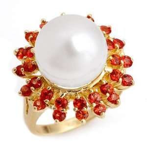 Genuine 1.50 ctw Red Sapphire & Pearl Ring 10K Yellow Gold Jewelry