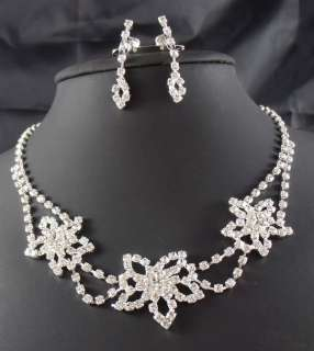 Wedding Bridal Rhinestone crystal necklace earring Sliver Jewelry set