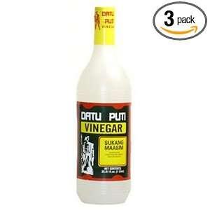 Datu Puti Cane Vinegar (Sukang Maasim), 33.81 Ounce Bottle (Pack of 3