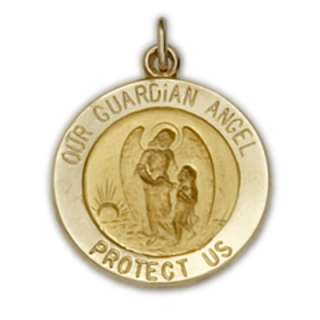 14K Solid Gold Catholic Guardian Angel Medal Pendant AN