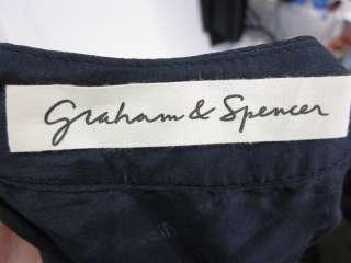 GRAHAM & SPENCER Brown Blue Sleeveless Print Shirt Sz P