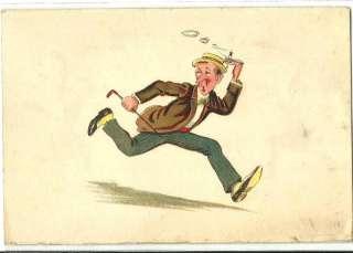 Comic Man running Hold to Light Old Postcard