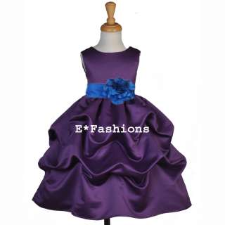 Silk Flower Petals on Plum Purple Royal Blue Wedding Bridal Flower Girl Dress 6 9m 12 18m 2