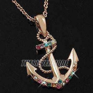 18K Rose Gold Plated Anchor Pendant Necklace 11069