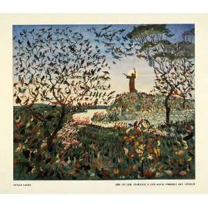 1914 Print St Francis Assisi Preaching Birds Hill Paint