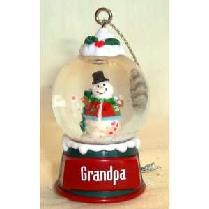 Grandpa Christmas Snowman Snow Globe Ornament
