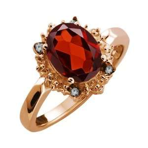 02 Ct Oval Red Garnet and Diamond Rose Gold Plated Argentium Silver