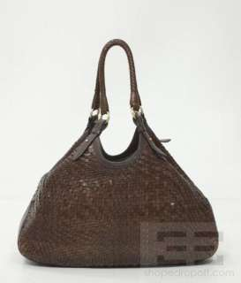 Cole Haan Brown Woven Leather Large Shoulder Tote Bag