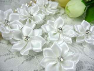 Satin Ribbon Flower Rhinestone Appliques x25 Wedding