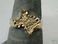 Ladies Texas Yellow Gold Diamond Cut Nugget Ring (865*