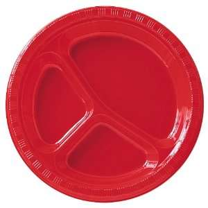 Classic Red (Red) Plastic Divided Dinner Plates Health