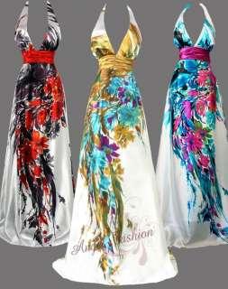 Neck Printed Floral Halter Maxi Evening Dress Gown S M L XL 2XL