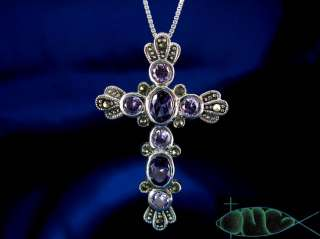 Large Sterling Silver Amethyst & Marcasite Cross Pendant/Necklace