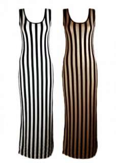 NEW WOMENS LADIES SLEEVELESS VERTICAL STRIPED MAXI DRESS SKIRT UK SIZE